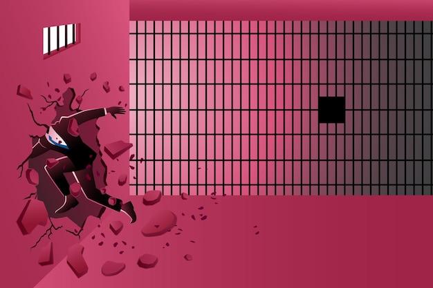 Illustrazione del concetto di business, l'uomo d'affari ha colpito il muro per fuggire dalla prigione