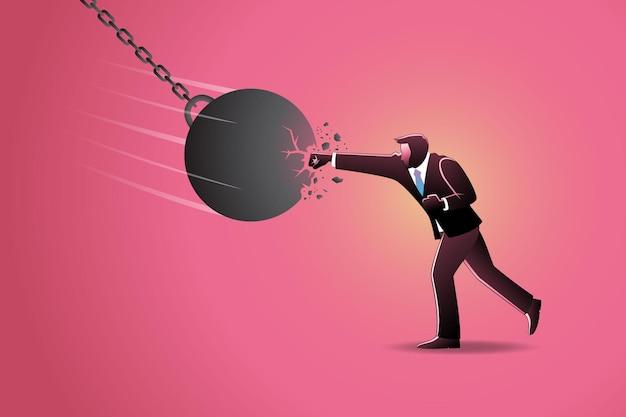 Illustrazione del concetto di business, un uomo d'affari che perfora e rompe un'enorme palla da demolizione