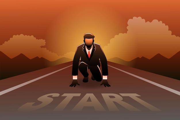 Illustrazione del concetto di business, uomo d'affari pronto a scattare sulla linea di partenza