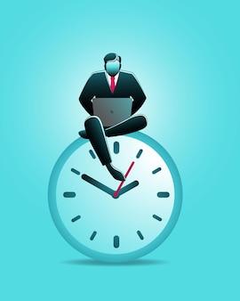 Illustrazione del concetto di business, uomo d'affari seduto su un grande orologio da parete mentre si lavora con il computer portatile