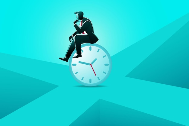 Illustrazione del concetto di business, uomo d'affari seduto sull'orologio in attesa di qualcosa