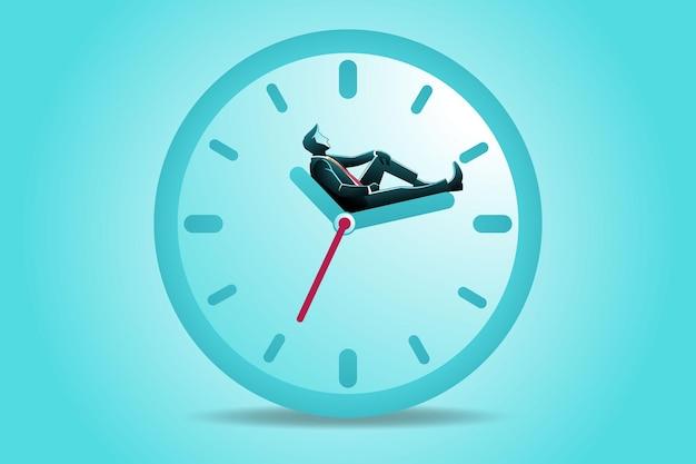 Illustrazione del concetto di business, un uomo d'affari seduto appoggiarsi indietro sulle frecce dell'orologio da parete