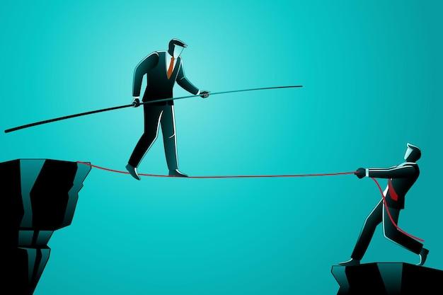 Illustrazione del concetto di business, uomo d'affari che cammina sulla corda assistito dal suo amico
