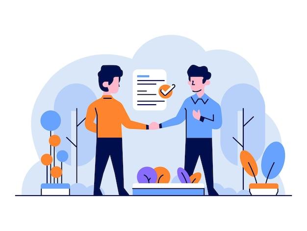 Illustrazione uomo d'affari e finanza che fa presentazione di lavoro contratto di contratto