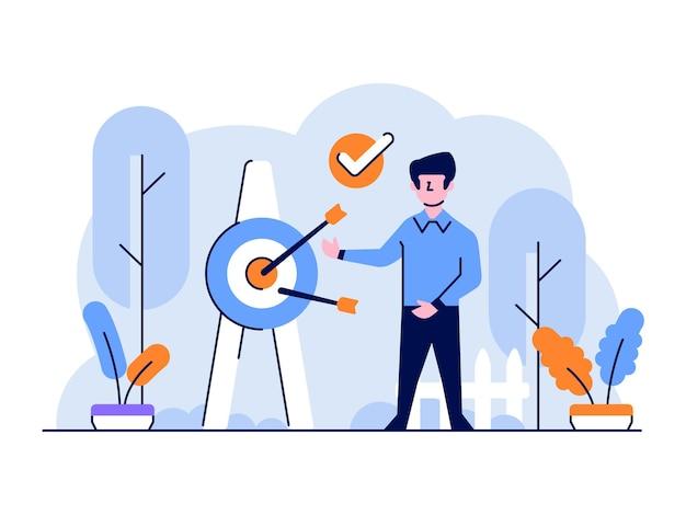 Illustrazione uomo di affari e finanza che fa presentazione che mira stile di design piatto e contorno di affari di mercato