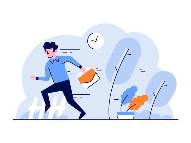Illustrazione l'uomo d'affari e finanziario va a lavorare nella cattiva gestione del tempo