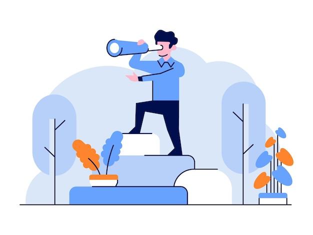Illustrazione uomo d'affari e delle finanze vedendo la direzione futura