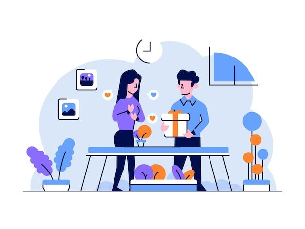Illustrazione finanza aziendale uomo donne che danno doni