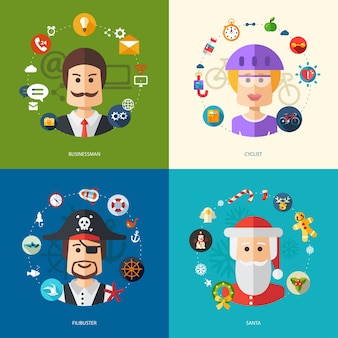 Illustrazione di illustrazioni di affari con professioni di persone
