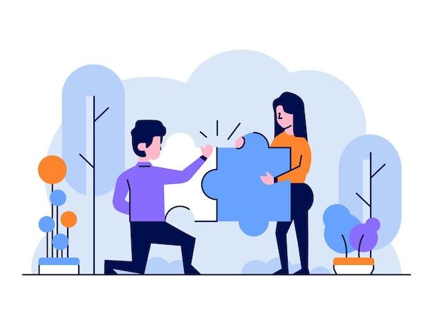 Illustrazione gli uomini d'affari squadra completano il puzzle per risolvere i problemi di stile di design piatto e contorno