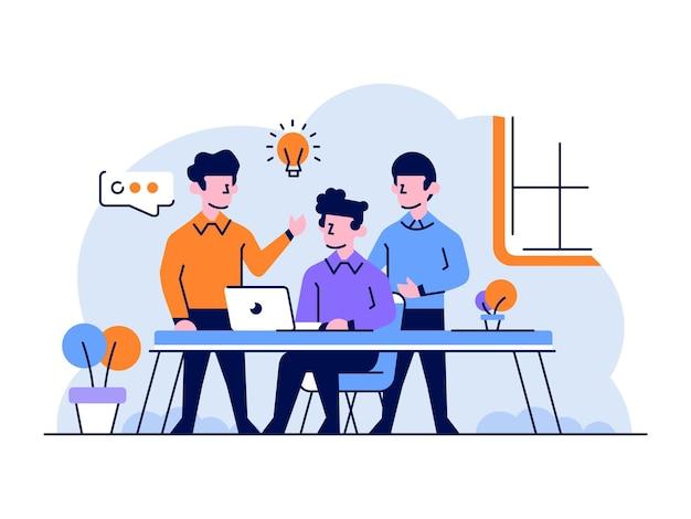 Illustrazione squadra di gente di affari che fa il brainstorming