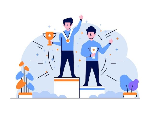 Illustrazione gli uomini d'affari vincono la competizione per il campionato