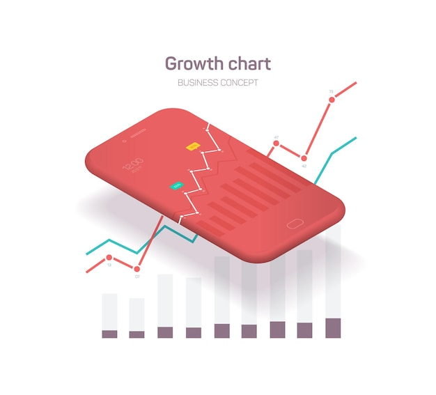 Illustrazione dello smartphone aziendale con grafici e tabelle