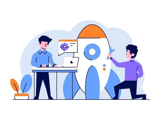 Illustrazione business startup developer razzo piatto e contorno stile di design