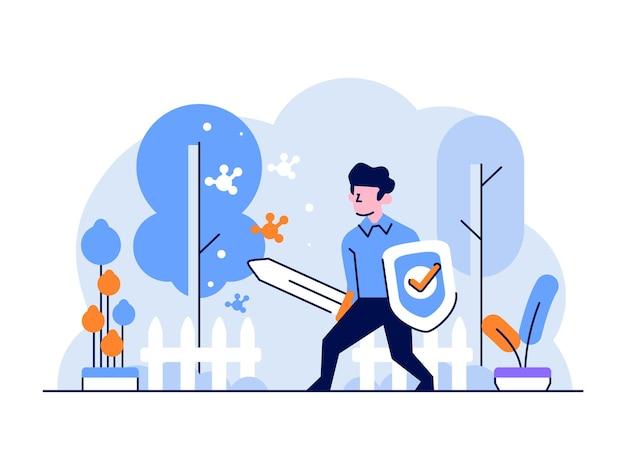Illustrazione l'uomo di tecnologia aziendale protegge in modo che i virus proteggano lo stile di design piatto e contorno di internet