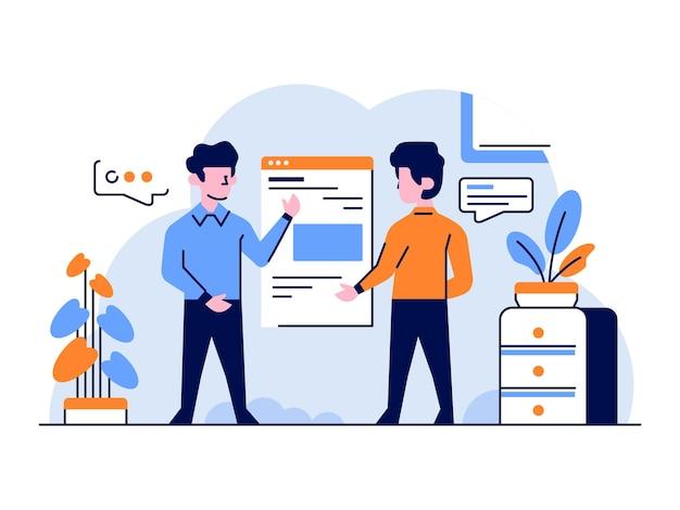 Illustrazione business due persone offrono applicazioni in stile piatto e contorno