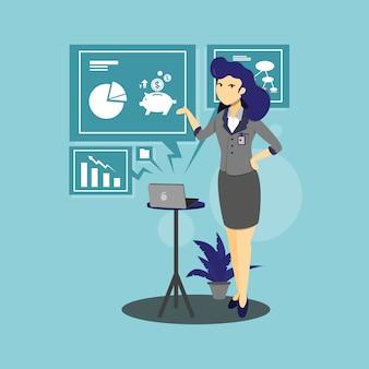 Illustrazione del carattere di donna d'affari