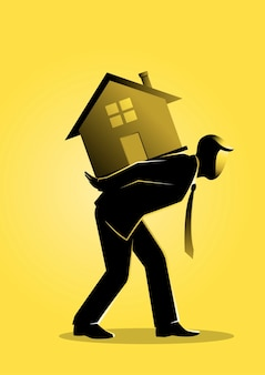 Un'illustrazione di un uomo d'affari che porta una casa sulla schiena
