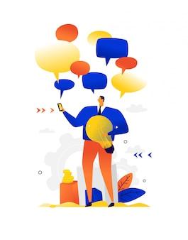 Illustrazione di una chiacchierata dell'uomo d'affari. . metafora. un uomo con una lampadina circondata da bolle comiche. illustrazione piatta. messaggeri e chat. messaggi e sms intorno a una persona.