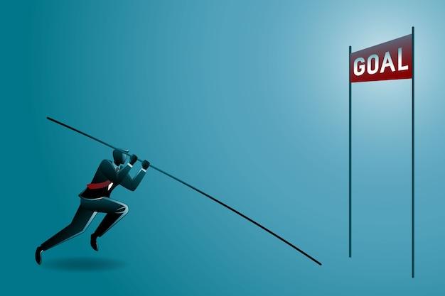 Illustrazione dell'uomo d'affari che fa salto con l'asta pronto che salta sopra per raggiungere l'obiettivo