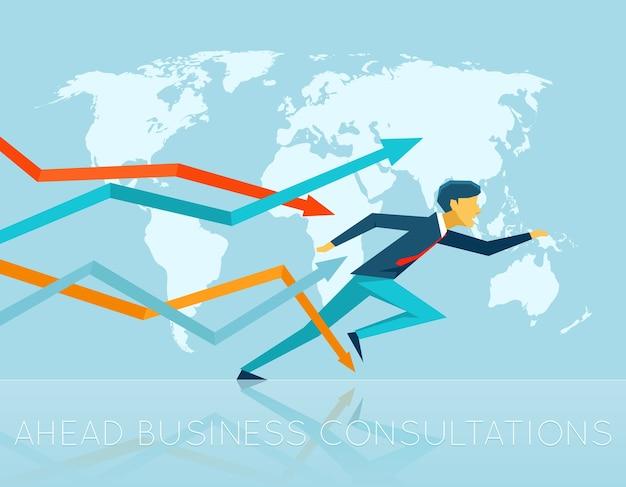 Illustrazione dell'uomo d'affari che fuoriesce dalle frecce intorno al mondo