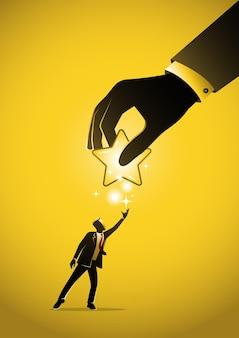 Un'illustrazione di un uomo d'affari che dà la stella in mano. concetto di feedback