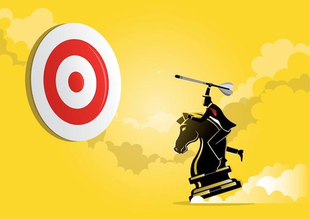 Un'illustrazione di un uomo d'affari che tiene in mano una freccia mentre cavalca un pezzo di cavaliere degli scacchi, concetto strategico