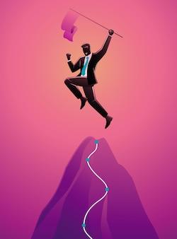 Illustrazione dell'uomo d'affari che tiene bandiera in cima alla montagna