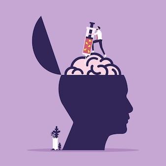 Illustrazione di un uomo d'affari che tiene in mano una siringa per iniettare liquido e lampadina nel cervello