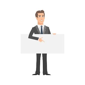 Illustrazione, uomo d'affari indica sulla targhetta vuota, formato eps 10