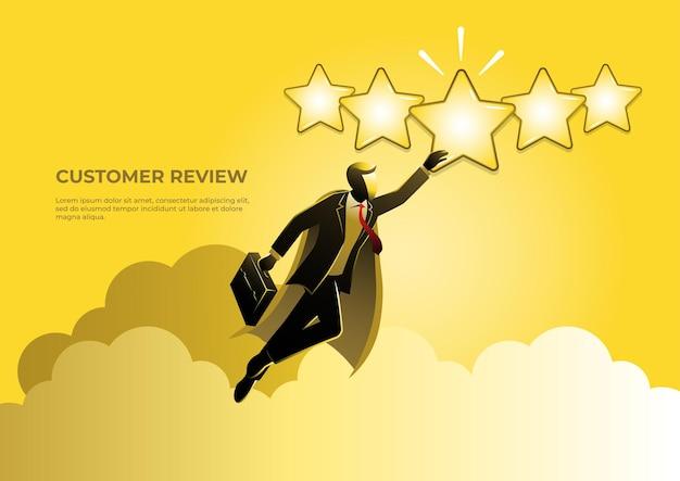 Un'illustrazione di un uomo d'affari che sembra un super eroe che vola con una stella