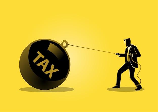 Un'illustrazione di un uomo d'affari che tira una grande tassa sulla palla