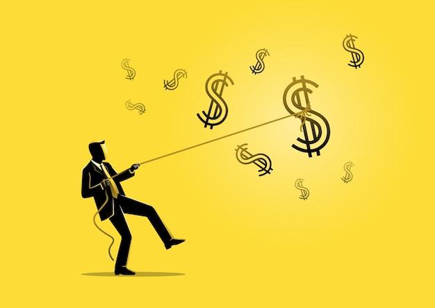Un'illustrazione di un uomo d'affari che tira un grande segno di dollaro nel cielo