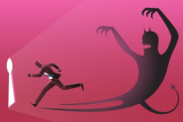 Illustrazione di un uomo d'affari che corre verso il buco della serratura perseguito dalla propria ombra malvagia