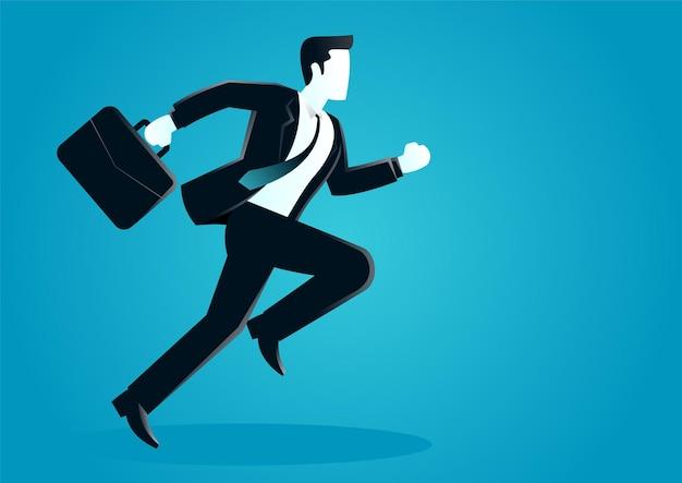 Illustrazione di un uomo d'affari in esecuzione con valigetta.