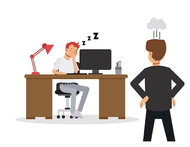 Illustrazione dell'uomo d'affari rallentare il lavoro, schiacciare un pisolino. dipendente che dorme alla scrivania in ufficio. il manager è arrabbiato quando l'ha visto. concetto di affari
