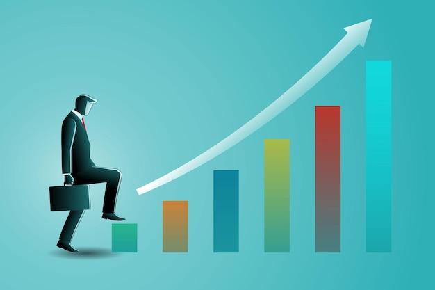 Illustrazione di un uomo d'affari che fa un passo avanti mentre trasporta la valigia su un grafico a barre in crescita con freccia