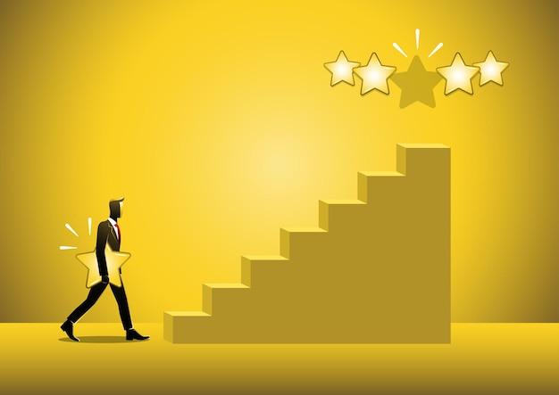 Un'illustrazione di un uomo d'affari che cammina sul gradino delle scale tenendo in mano una stella per dare cinque