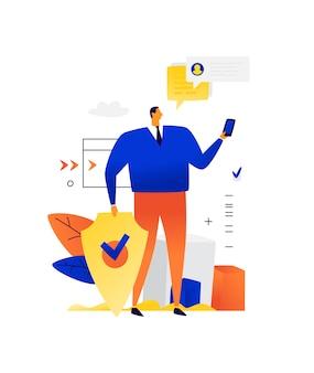 Illustrazione di un uomo d'affari con un telefono e uno scudo. protezione dei dati personali. protezione contro l'hacking da parte degli hacker del telefono.