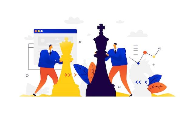 Illustrazione di uomini d'affari che giocano a scacchi. concorrenza nel mondo degli affari. sviluppo di interfacce. strategia e tattiche negli affari.