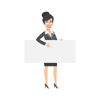 Illustrazione, donna d'affari indica sulla targhetta vuota, formato eps 10