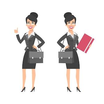 Illustrazione, donna d'affari che mostra i pollici in su tenendo la cartella della valigetta, formato eps 10