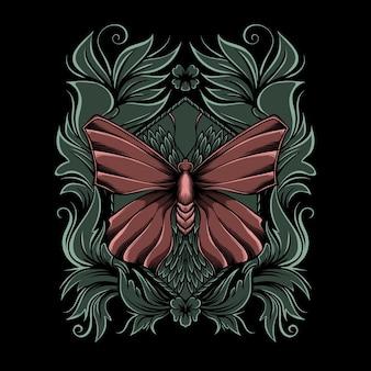 Illustrazione di una farfalla su un ornamento su sfondo nero