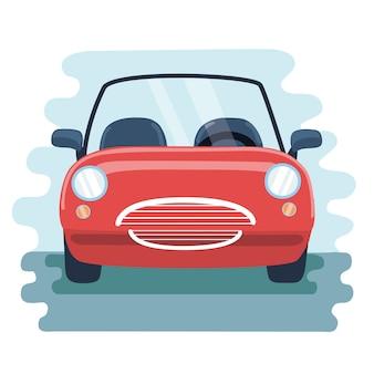 Illustrazione cabrio macchina rossa nella vista frontale