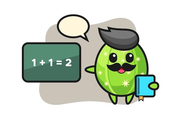 Illustrazione del carattere di cactus come insegnante