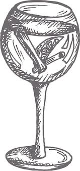 Illustrazione di campari o aperol spritz cocktail in un bicchiere di vino disegnato a mano illustrazione vettoriale