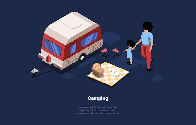Illustrazione sul concetto di campeggio con due personaggi.