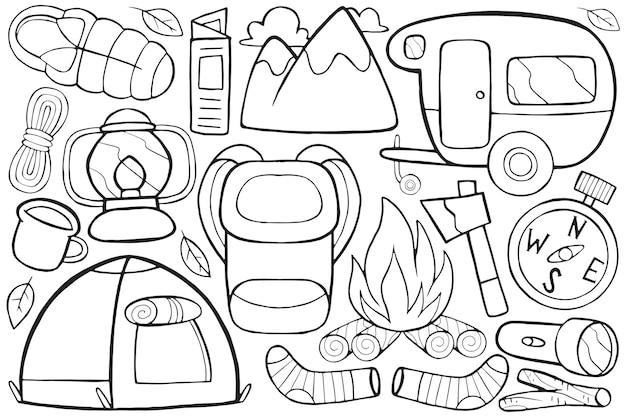 Illustrazione del doodle del campeggio in stile cartone animato