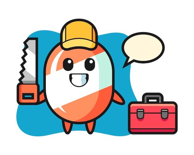 Illustrazione del carattere di caramella come falegname