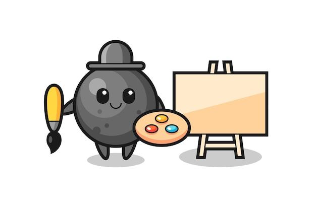 Illustrazione della mascotte della palla di cannone come pittore, design in stile carino per maglietta, adesivo, elemento logo